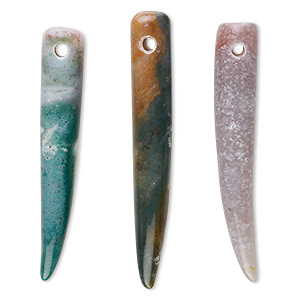 focal, fancy jasper (natural), 2-1/4 to 3-inch tooth, b grade, mohs hardness 6-1/2 to 7. sold per pkg of 3.