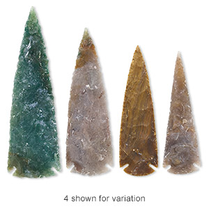 focal, fancy jasper (natural), 4x1-1/4 to 5-1/2 x 1-1/2 inch hand-knapped spear point, b- grade, mohs hardness 6-1/2 to 7. sold individually.