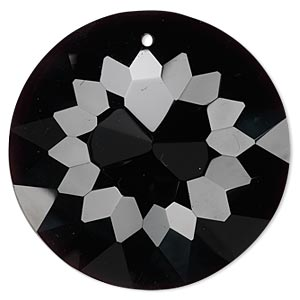 focal, glass, black, 45mm faceted disc. sold individually.