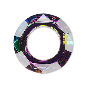 focal, glass, clear vitrail, foil back, 30mm faceted round donut. sold individually.