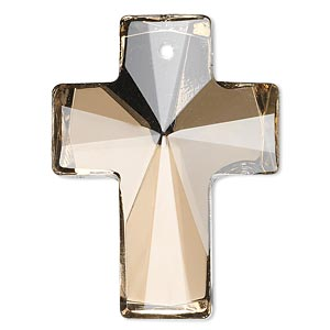 focal, glass, coffee, foil back, 40x30mm faceted cross. sold individually.