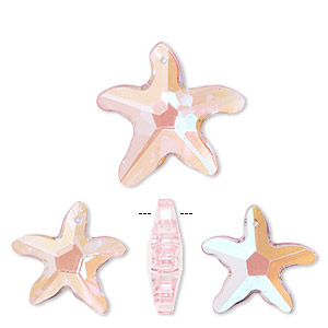 focal, glass, pink ab, 31x31mm and 42x40mm faceted starfish. sold per pkg of 3.