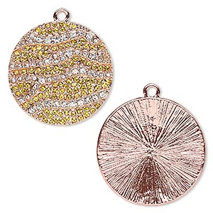 focal, glass rhinestone and copper-finished pewter (zinc-based alloy), clear and yellow, 36mm round with stripe design. sold individually.