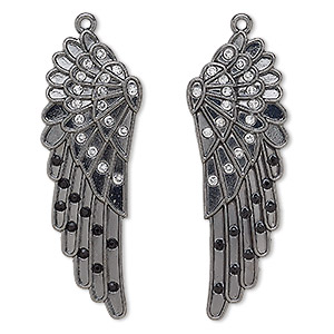focal, glass rhinestone and gunmetal-finished pewter (zinc-based alloy), clear and black, 62x21mm left- and right-facing wing. sold per pkg of 2.
