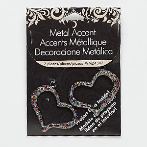 focal, glass rhinestone and gunmetal-finished pewter (zinc-based alloy), multicolored, 57x35mm open heart. sold per pkg of 2.