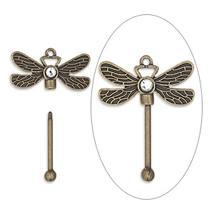 focal, glass rhinestone with antique brass-finished brass and pewter (zinc-based alloy), clear, 48x38.5mm single-sided dragonfly with twist-off top, 24.5mm beadable length. sold individually.