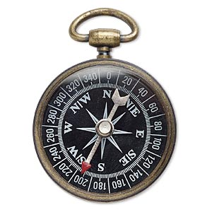 focal, glass with antique brass-plated steel and pewter (zinc-based alloy), black / white / red, 53x37mm compass. sold individually.