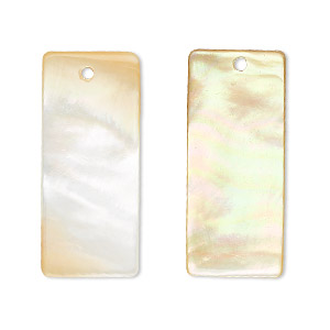 focal, gold lip shell (natural), 30x13mm rectangle, mohs hardness 3-1/2. sold per pkg of 2.