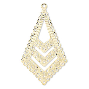 focal, gold-plated brass, 39x24mm kite. sold per pkg of 10.