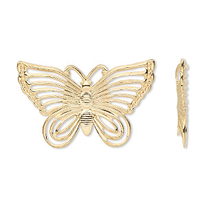 focal, gold-plated steel, 30x18mm single-sided fancy butterfly. sold per pkg of 24.