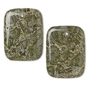 focal, green brecciated jasper (natural), 40x30mm rectangle, b grade, mohs hardness 6-1/2 to 7. sold per pkg of 2.