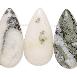 focal, green earth jasper (natural), 33x17mm-34x17mm flat teardrop with flat back, c grade, mohs hardness 2-1/2 to 6. sold per pkg of 4.