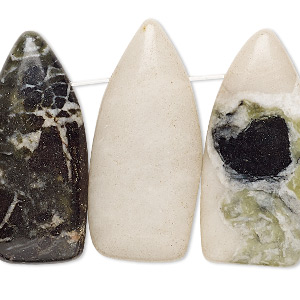 focal, green earth jasper (natural), dark, 32x12mm-36x15mm flat shield with flat back, b- grade, mohs hardness 2-1/2 to 6. sold per pkg of 4.
