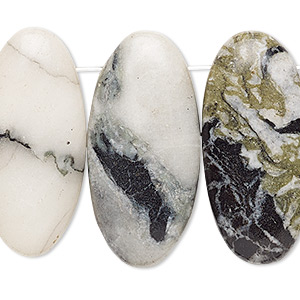 focal, green earth jasper (natural), dark, 33x15mm-35x16mm puffed oval with flat back, b- grade, mohs hardness 2-1/2 to 6. sold per pkg of 4.