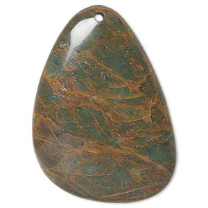 focal, green opal (natural), 46x32mm top-drilled teardrop with flat back, b grade, mohs hardness 4-1/2 to 6. sold individually.