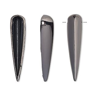 focal, gunmetal-finished pewter (zinc-based alloy), 32x7mm single-sided hollow spike. sold per pkg of 6.