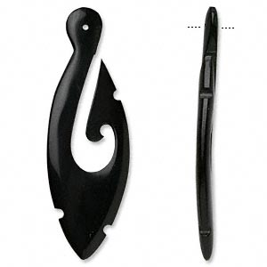 focal, horn (dyed), black, 3x1-inch hand-carved hook. sold individually.