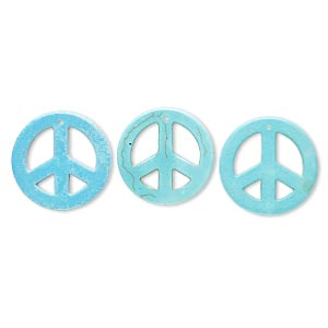 focal, howlite (imitation), blue and green, 34mm peace sign. sold per pkg of 3.