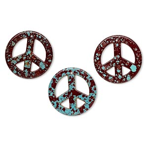 focal, howlite (imitation), burgundy and aqua, 34mm peace sign. sold per pkg of 3.