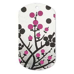 focal, imitation rhodium-finished carbon steel, black and pink, 40x22mm single-sided dog tag with cherry blossom design. sold per pkg of 2.