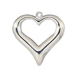 focal, imitation rhodium-plated pewter (zinc-based alloy), 30x29mm single-sided open heart. sold individually.