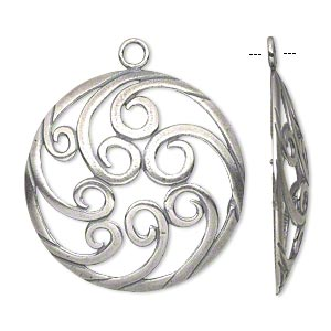 focal, jbb findings, antique silver-plated brass, 34mm single-sided domed flat round with swirl design. sold individually.