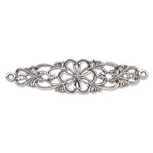 focal, jbb findings, antiqued sterling silver, 38x11mm single-sided filigree flower with 2 loops. sold individually.