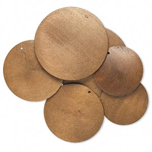 focal, korean boxwood (dyed), brown, 40-60mm top-drilled round. sold per pkg of 3 pairs.