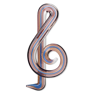 focal, lampworked glass, light blue with copper-colored foil, 2-3/4 x 1-1/4 inch treble clef. sold individually.