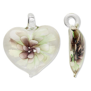 focal, lampworked glass, lime and purple, 45x42mm single-sided heart with flower. sold individually.