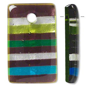 focal, lampworked glass, multicolored with silver-colored foil, 50x30mm rectangle with stripes. sold individually.