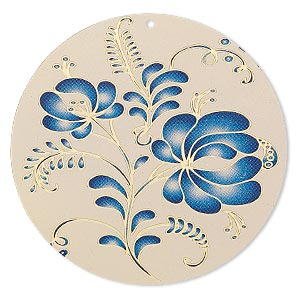 focal, lazer lace™, color film and gold-finished brass, blue and taupe, 47mm single-sided round with floral design. sold per pkg of 20.