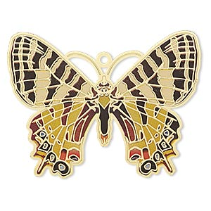 focal, lazer lace™, color film and gold-finished brass, multicolored, 44x35mm single-sided butterfly. sold per pkg of 2.