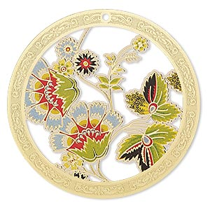 focal, lazer lace™, color film and gold-finished brass, multicolored, 45mm single-sided round with cutouts and floral design. sold per pkg of 2.