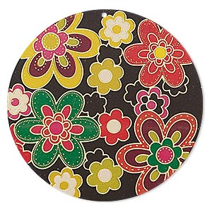 focal, lazer lace™, color film and gold-finished brass, multicolored, 47mm single-sided round with floral design. sold per pkg of 2.