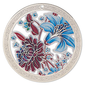 focal, lazer lace™, color film and silver-finished brass, multicolored, 45mm single-sided flat round with cutouts and floral design. sold per pkg of 2.