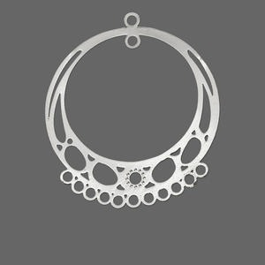 focal, lazer lace™, silver-finished brass, 34x33mm round with 13 loops. sold per pkg of 10.