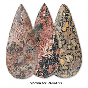 focal, leopardskin jasper (natural), 46x20mm flat teardrop, b grade, mohs hardness 6-1/2 to 7. sold individually.