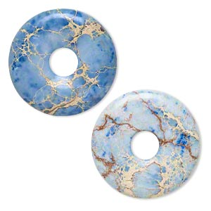 focal, magnesite (dyed / stabilized), blue, 40mm hand-cut round donut, b grade, mohs hardness 3-1/2 to 4. sold individually.