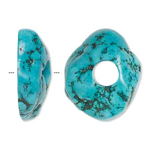 focal, magnesite (dyed / stabilized), dark blue-green, 37x30mm freeform donut with 10mm hole, b grade, mohs hardness 3-1/2 to 4. sold individually.