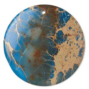 focal, magnesite (dyed / stabilized), light blue, 40mm hand-cut top-drilled round with flat back, b grade, mohs hardness 3-1/2 to 4. sold individually.