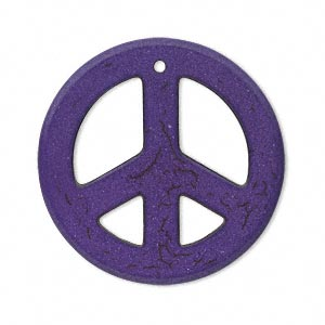 focal, magnesite (dyed / stabilized), purple, 33-40mm peace sign, b grade, mohs hardness 3-1/2 to 4. sold per pkg of 5.