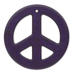focal, magnesite (dyed / stabilized), purple, 45mm peace sign, b grade, mohs hardness 3-1/2 to 4. sold per pkg of 4.