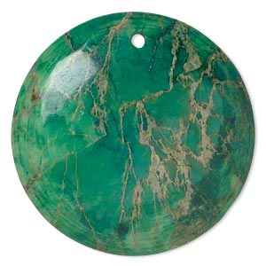 focal, magnesite (dyed / stabilized), turquoise green, 40mm hand-cut top-drilled round with flat back, b grade, mohs hardness 3-1/2 to 4. sold individually.