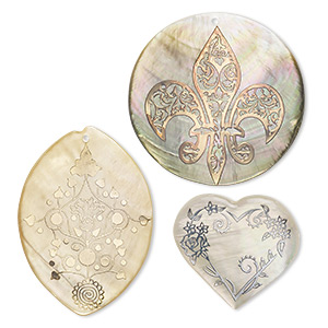 focal mix, black lip shell / gold lip shell / mother-of-pearl shell (coated), silver / gold / copper, 35mm-57x40mm mixed shape with mixed decal. sold per pkg of 3.