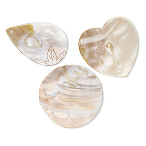 focal mix, blister pearl (natural), 66x39mm-73x48mm top-drilled mixed shapes. sold per pkg of 3.