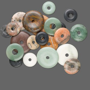 focal mix, gemstone (natural / dyed), mixed size donut. sold per pkg of 1 pound.