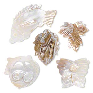 focal mix, mother-of-pearl shell and blister pearl shell (natural / bleached), white, 37x32mm-69x40mm top-drilled mixed carved shapes. sold per pkg of 5.