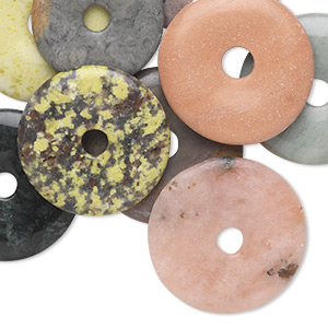 focal mix, multi-gemstone (natural / dyed), multicolored, 28-50mm round donut, c grade. sold per pkg of 10.