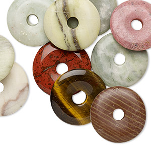 focal mix, multi-gemstone (natural), 25-30mm donut, mohs hardness 3 to 7. sold per pkg of 10.